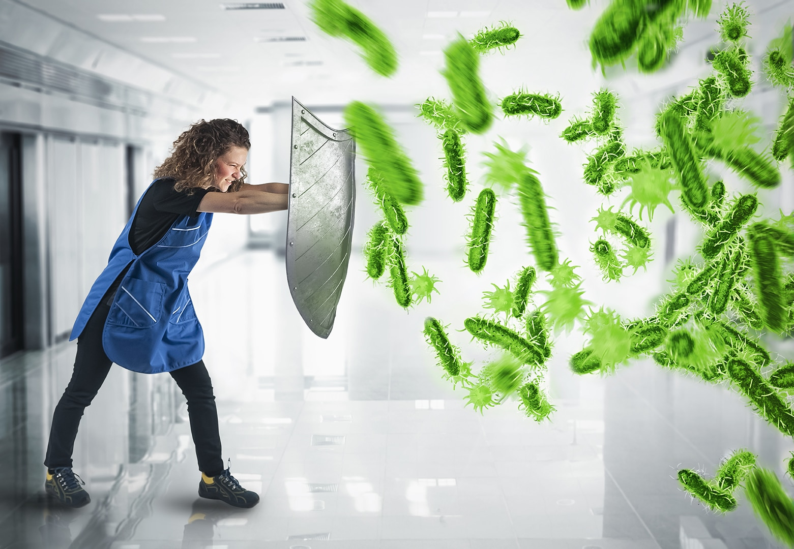 3D Rendering attack of bacteria